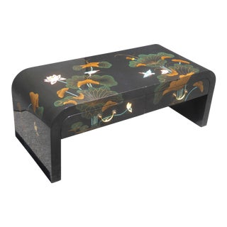 Vintage Black Lacquered Oriental Asian Floral Design Two Drawer Coffee Table