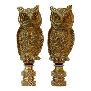 Solid Brass Owl Finials - a Pair