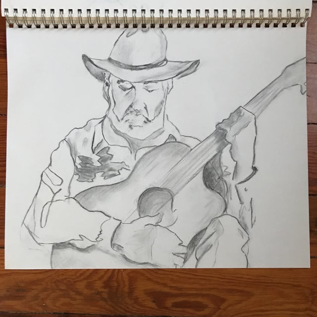 The Guitarist 1 - Drawing - Image 2 of 3
