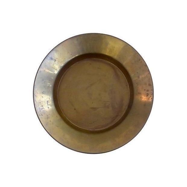 Brass Bowl With Ram's Heads Decor Support - Image 4 of 4