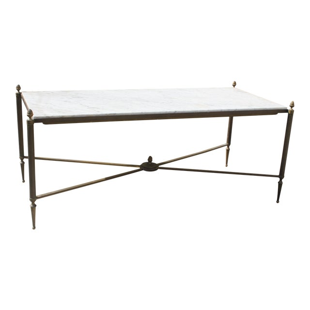Long Maison Jansen Coffee Or Cocktail Table Bronze Rectangular With Marble Top Circa 1940s - Image 1 of 11
