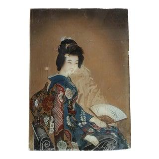 19th Century Chinese Glass Panel