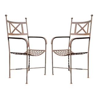 Vintage Neoclassical Regency Iron Garden Chairs - A Pair