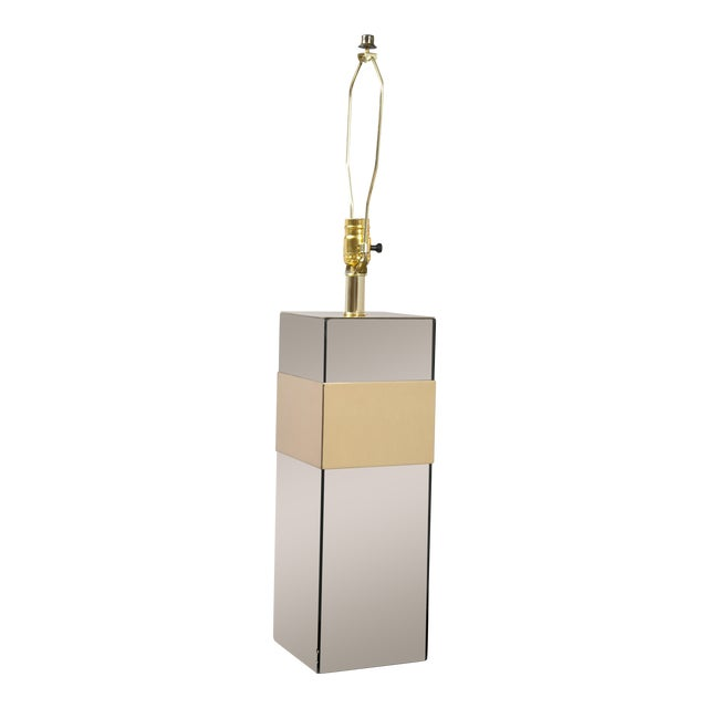 Paul Evans Style Glass & Brass Table Lamp - Image 1 of 7