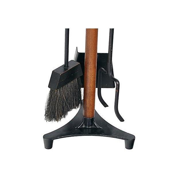 Vintage 1960s Walnut-Handled Black Fire Tool Set - Image 4 of 4