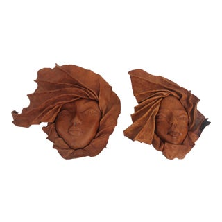 Vintage Formed Leather Wall Hanging Portraits - A Pair