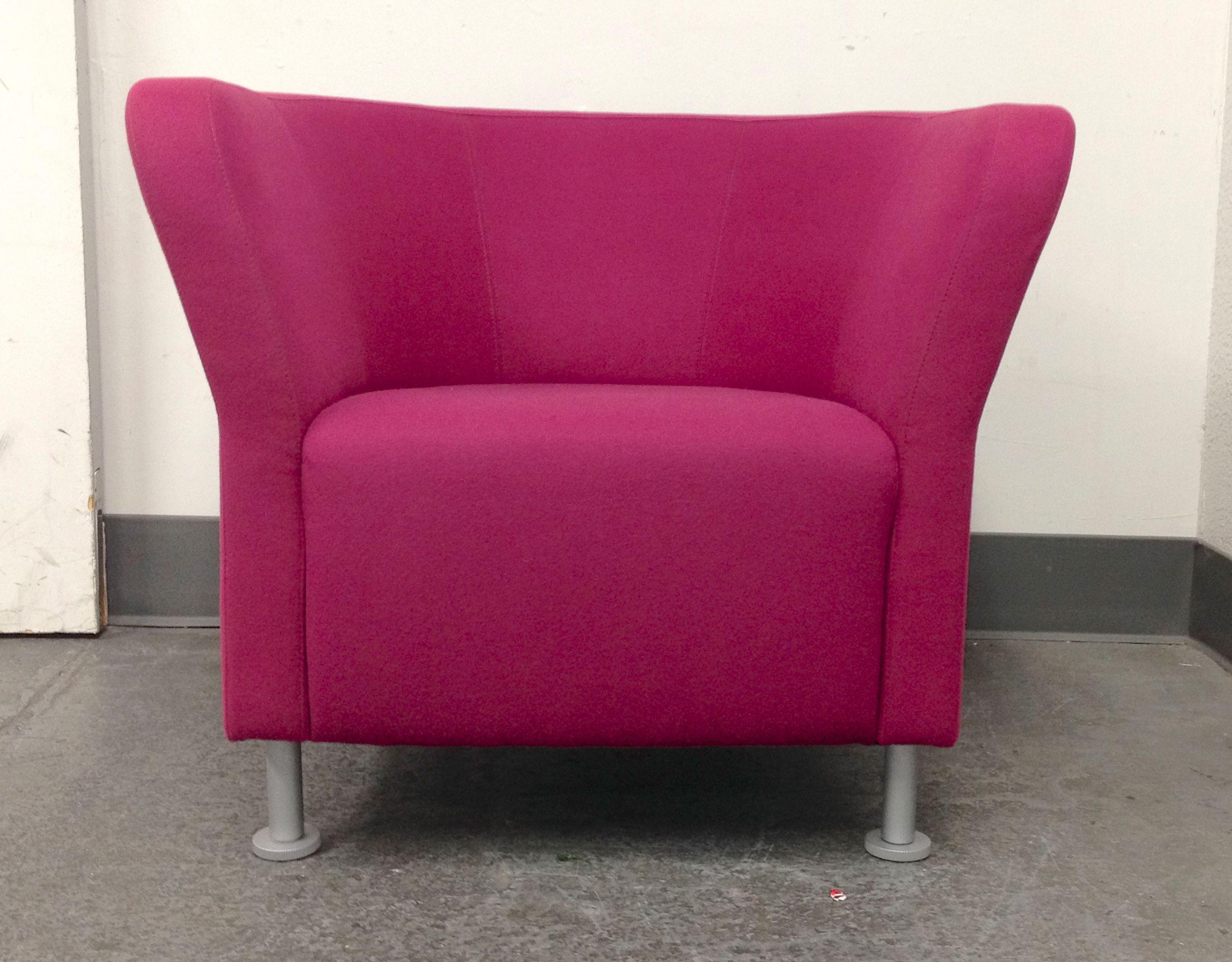 Magenta HON Flock Round Lounge Chairs - A Pair : Chairish