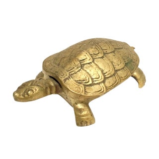 Antique Lidded Brass Turtle Trinket Box