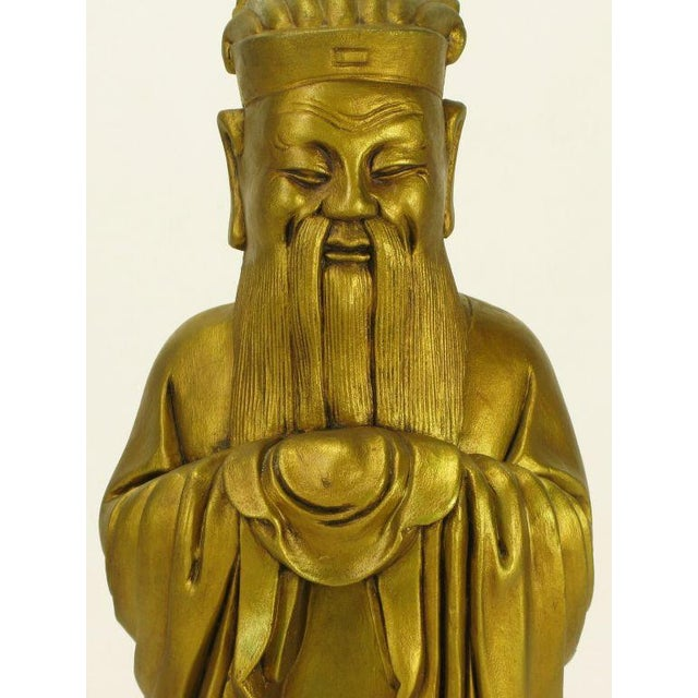 Confucius Gilt Metal Table Lamp - Image 4 of 9