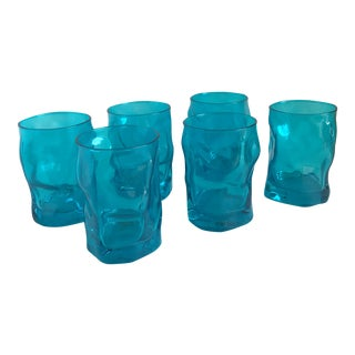 Italian Deep Aqua Water Goblets - Set of Six