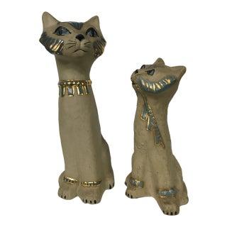 Mid-Century Clay Cat Sculptures - A Pair
