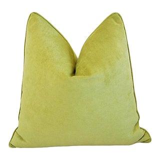 """24"""" Custom Tailored Apple Green Velvet Feather/Down Pillow"""
