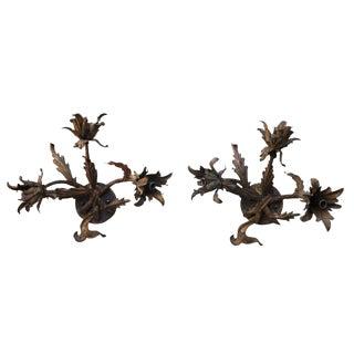 Gilt Metal Floral Sconces - A Pair