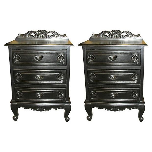 3-Drawer Ebony Nightstands - a Pair - Image 1 of 4