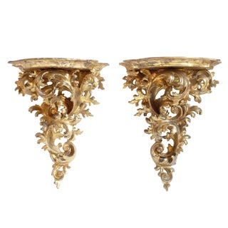 Italian Carved Giltwood Brackets - A Pair