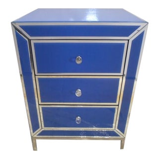 Contemporary Blue Bedside End Table