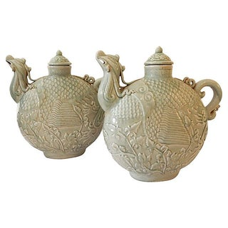 Celadon Phoenix Birds Lidded Jars - A Pair