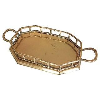 Octagonal Bamboo Style Brass Tray