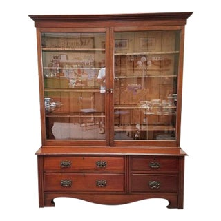 1900 Antique Victorian Large Mahogany Bookcase