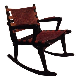 Mohena Wood & Leather Rocking Chair