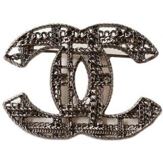 Chanel Gunmetal Textured Brooch