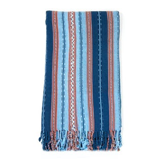 Indigo & Orange Guatemalan Blanket