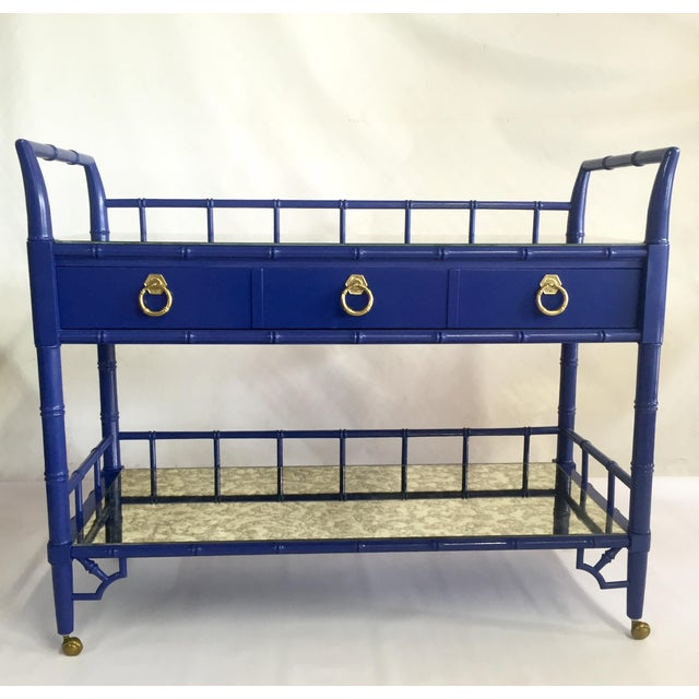 Thomasville Royal Blue Lacquered Server - Image 2 of 11