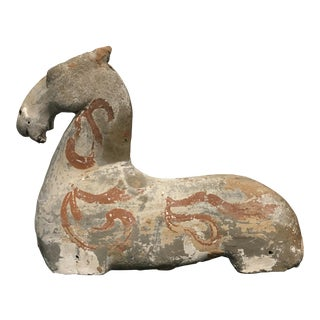 Han Dynasty Painted Pottery Recumbent Horse