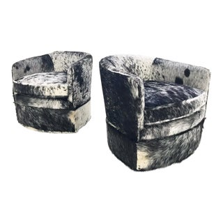 Vintage Milo Baughman Wheeled Restored and Reupholstered in Black and White Speckled Brazilian Cowhide Slipper Chairs - a Pair
