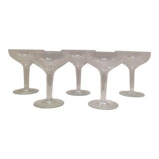 Mid-Century Hollow Stem Champagne Glasses - Set of 5
