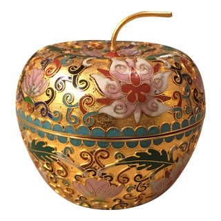 Chinese Cloisonné Apple Trinket Box