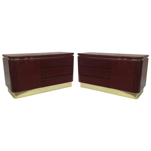 Red Lacquer Hollywood Regency Dressers - A Pair - Image 1 of 6