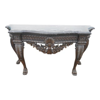 French Rococo Style Carved Wood & Marble Top Console Table
