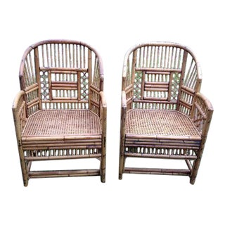 Vintage Rattan Bamboo Cane Chairs - A Pair