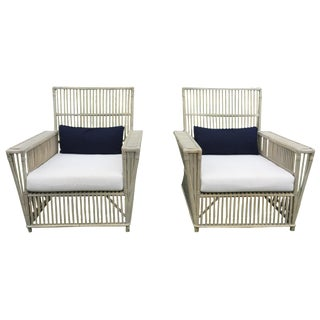 Antique White Wicker Chairs - a Pair