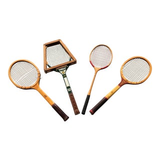 Collection of Antique Tennis Rackets - Set of 4
