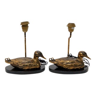 Pair Mid Century Marble and Brass Duck Table Lamps