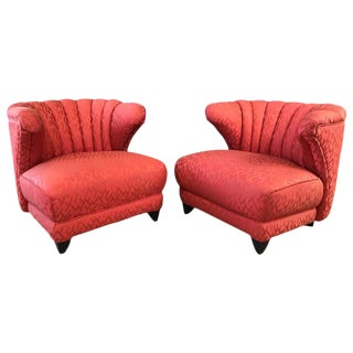 James Mont Upholstered Lounge Chairs - A Pair