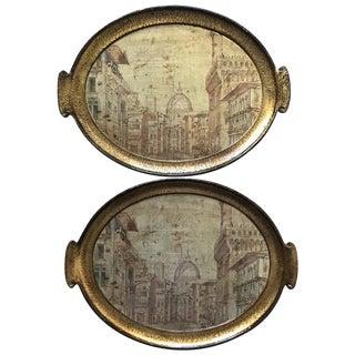 Vintage Florentine Italian Gilt Wood Trays - Pair