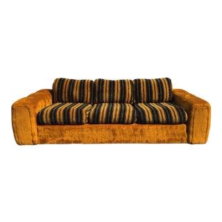 Vintage Schweiger Orange Gold Faux Fur Sofa