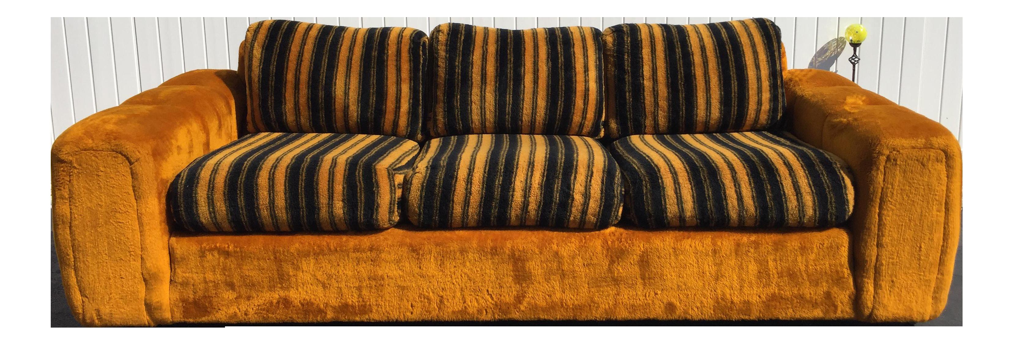 Vintage Schweiger Orange Gold Faux Fur Sofa   Image 1 Of 11