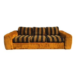 Vintage Schweiger Orange Gold Faux Fur Sofa
