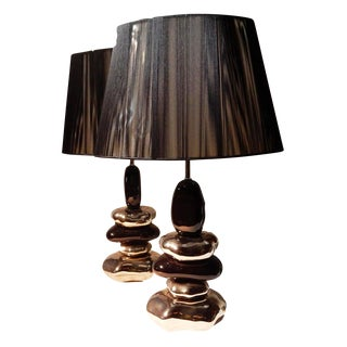 Porcelain Stacked Stone Table Lamps - a Pair