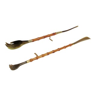 Jacques Adnet Style Bamboo Back Scratchers / Shoehorns - A Pair