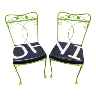 Green Painted Upcycled Chairs - A Pair