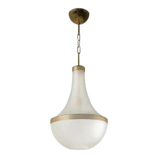 Stilnovo Gilt Opaline Chandelier