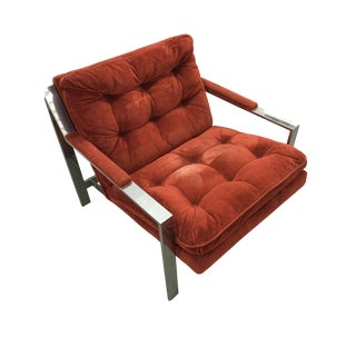 Milo Baughman Chrome and Velvet Lounge Chair