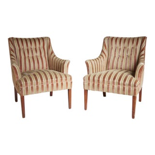 1960 Mid-Century Modern Striped Fireside Armchairs - A Pair