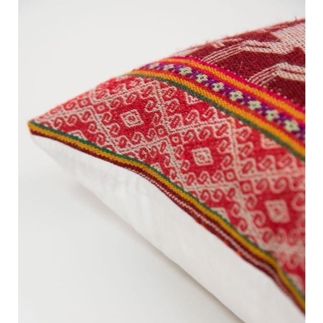 Red Handwoven Peruvian Pillow - Image 3 of 7