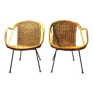 Vintage Boho Chic Rattan Chairs - A Pair